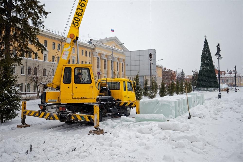 Ледовый городок на Новособорной будет украшен 30 ледовыми фигурами.