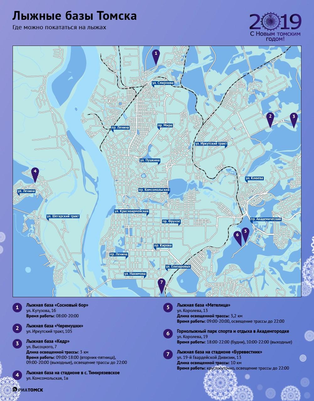 Найти подходящее место для лыжных прогулок в черте города поможет инфографика РИА Томск.