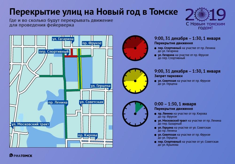 Во время праздничного фейерверка в новогоднюю ночь в центре Томска будет закрыто движение транспорта, а на участке улицы Герцена будет запрещена парковка. Все ограничения – в инфографике РИА Томск.