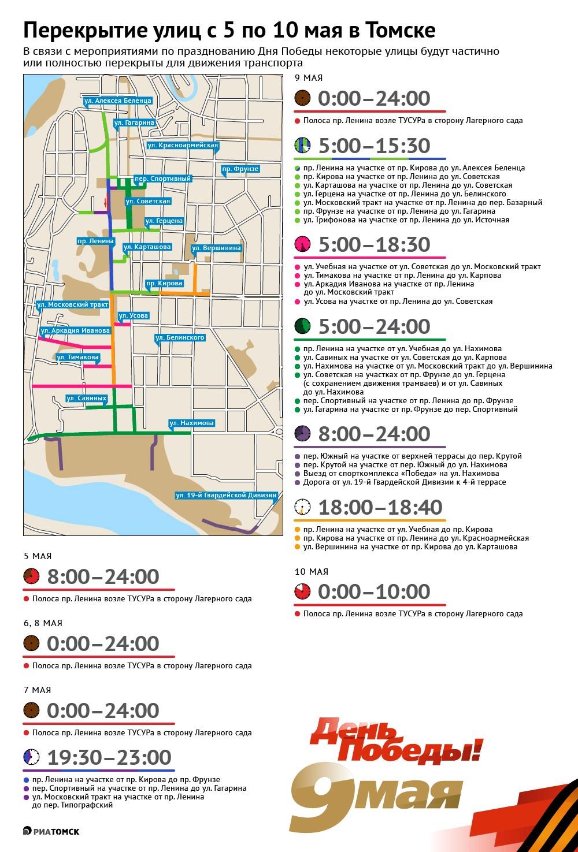 В связи с подготовкой и празднованием Дня Победы в Томске будет закрыто либо ограничено движение на ряде центральных улиц города с 5 по 10 мая. Подробнее – в инфографике РИА Томск.