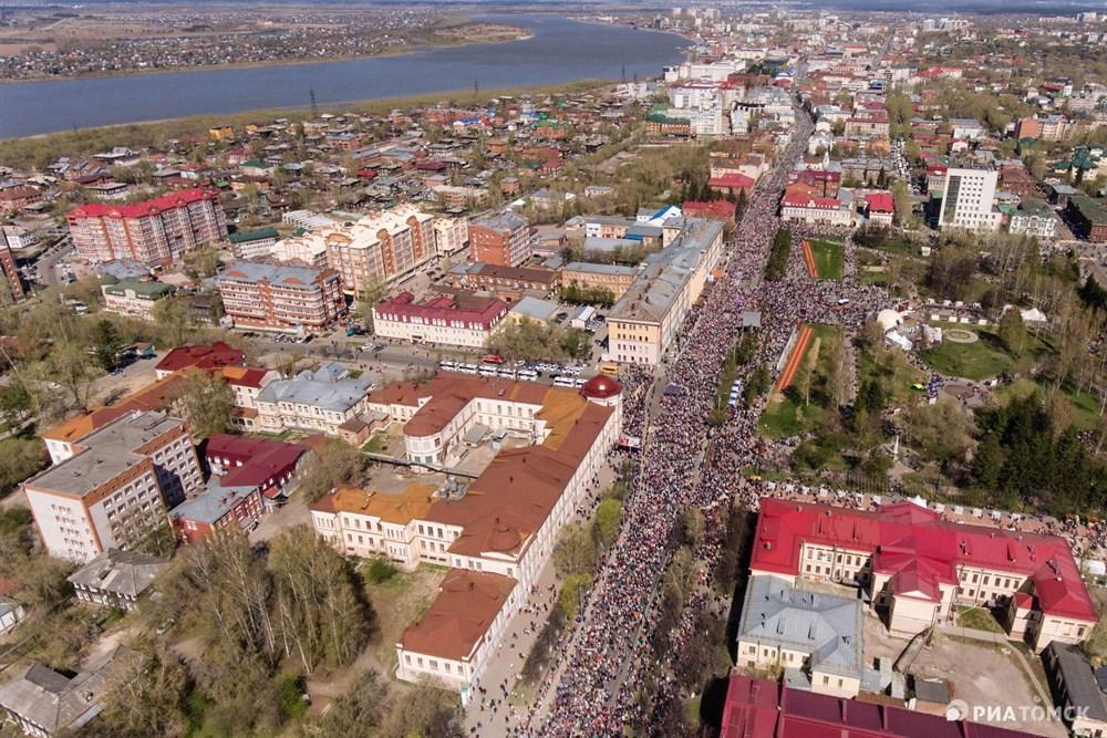 Как выглядели Парад Победы и шествие Бессмертного полка в Томске с высоты птичьего полета – на фото РИА Томск.
