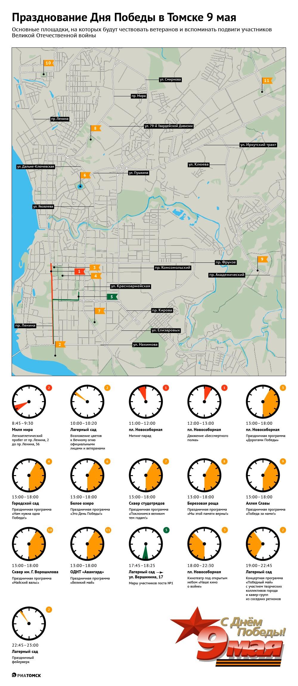 Мероприятия, посвященные Дню Победы, запланированы во всех районах Томска. Подробнее о том, где томичи смогут отметить 9 Мая, – в инфографике РИА Томск.