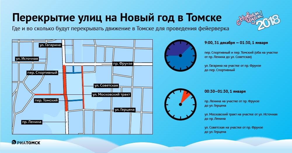 Новособорная площадь снова станет центром празднования Нового года в Томске, власти ожидают, что здесь соберутся более 20 тысяч человек. Главным событием станет фейерверк, который запланирован на 01.00 1 января. Какие улицы будут перекрыты в центре города – узнайте из инфографики РИА Томск.