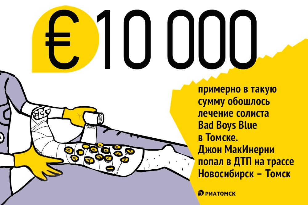Лидер группы Bad Boys Blue Джон МакИнерни в марте попал в дорожную аварию по дороге на концерт из Новосибирска в Томск.В результате ДТП музыкант получил перелом бедра, он проходил лечение в Томске. Операция и медобслуживание обошлось музыканту примерно в 10 тысяч евро.