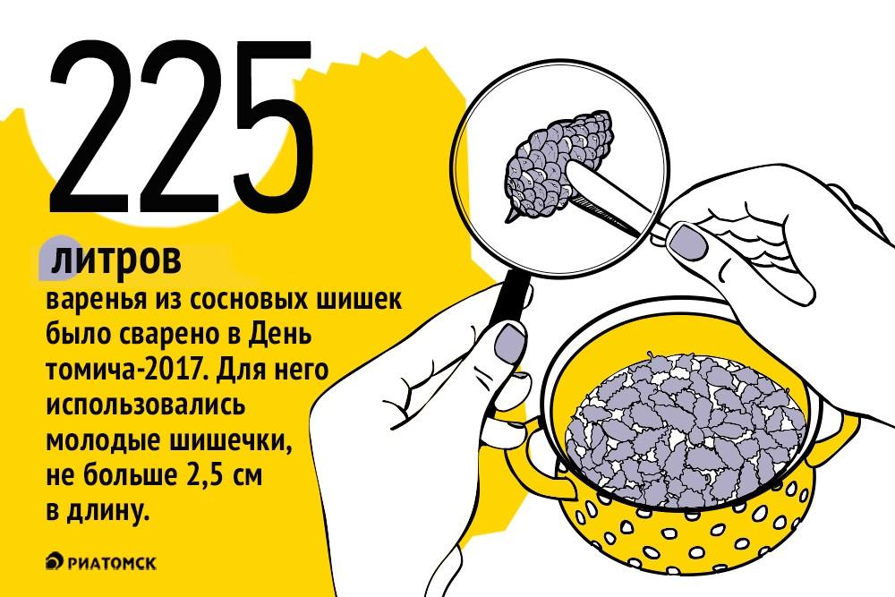 Новым рекордом Книги Гиннесса томичей стала самая большая емкость с вареньем из сосновой шишки, сваренная в День томича, – ее объем 225 литров.