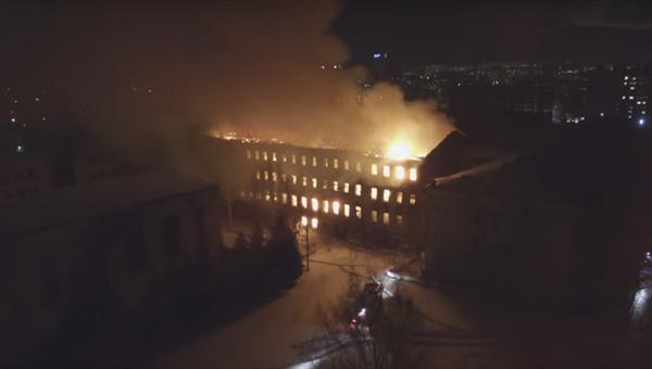Крупный пожар в Томске сняли на видео с беспилотника
