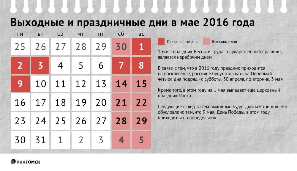 Майские праздники в этом году в россии