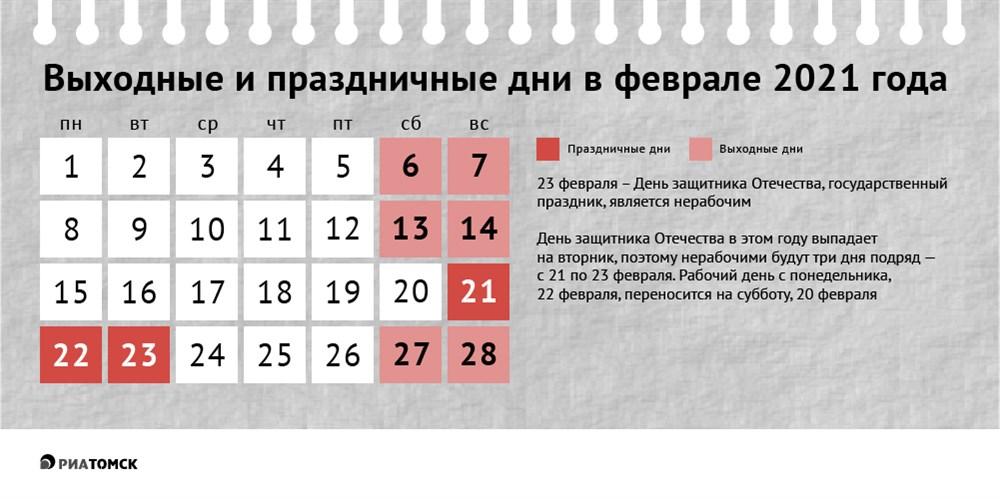 Год 2021-й – не високосный, поэтому в феврале будет всего 28 дней, из них 9 – выходные! Как так получилось – поможет понять календарь от РИА Томск.