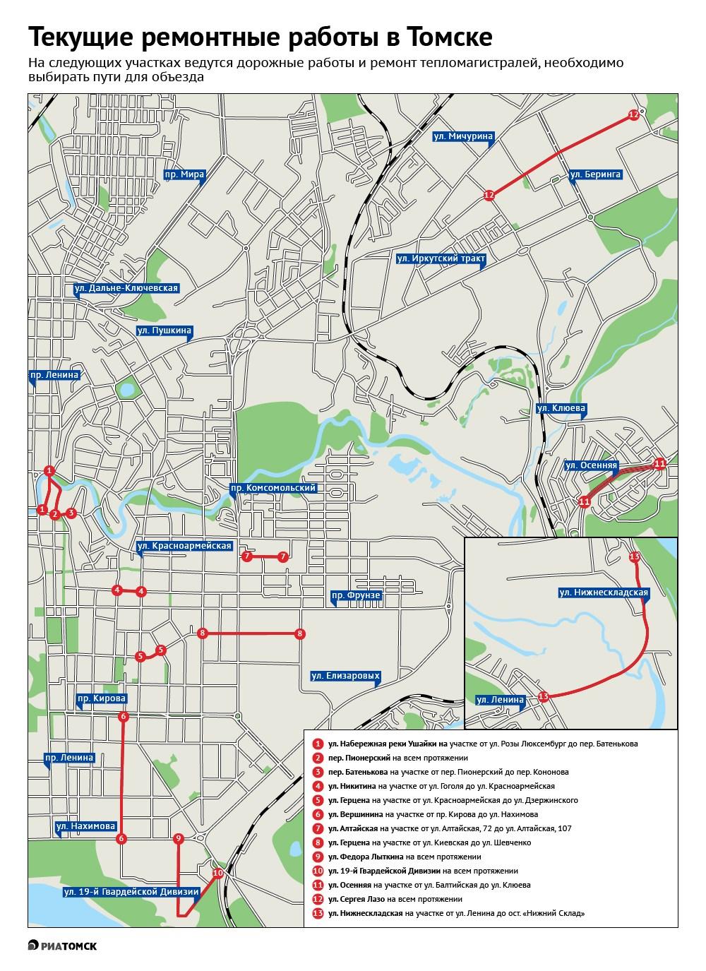 Ремонтная кампания на дорогах и коммунальных сетях стартовала в Томске, из-за чего в настоящее время сразу несколько участков дорог перекрыто для движения транспорта. Где автомобилистам стоит позаботиться об объезде – в инфографике РИА Томск.